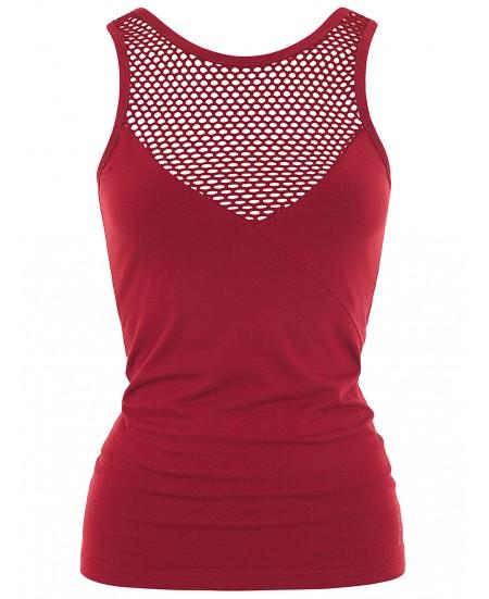 Red Yoga Mesh Top